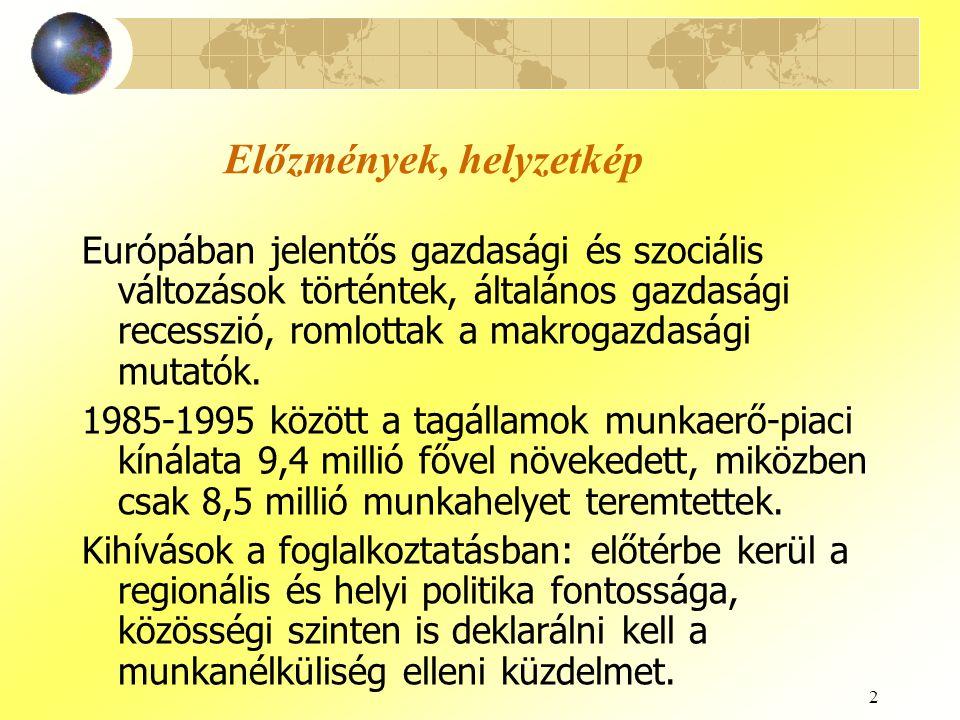 2 Előzmények, helyzetkép Európában jelentős gazdasági és szociális változások történtek, általános gazdasági recesszió, romlottak a makrogazdasági mut