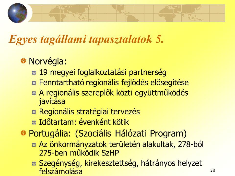 28 Egyes tagállami tapasztalatok 5. Norvégia: 19 megyei foglalkoztatási partnerség Fenntartható regionális fejlődés elősegítése A regionális szereplők
