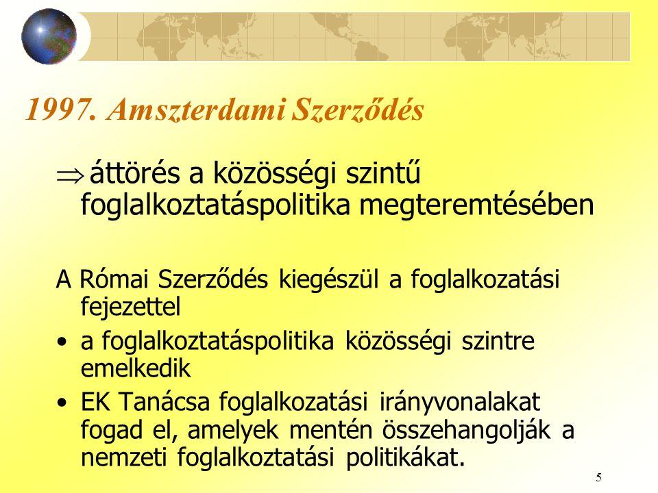5 1997. Amszterdami Szerződés  áttörés a közösségi szintű foglalkoztatáspolitika megteremtésében A Római Szerződés kiegészül a foglalkozatási fejezet