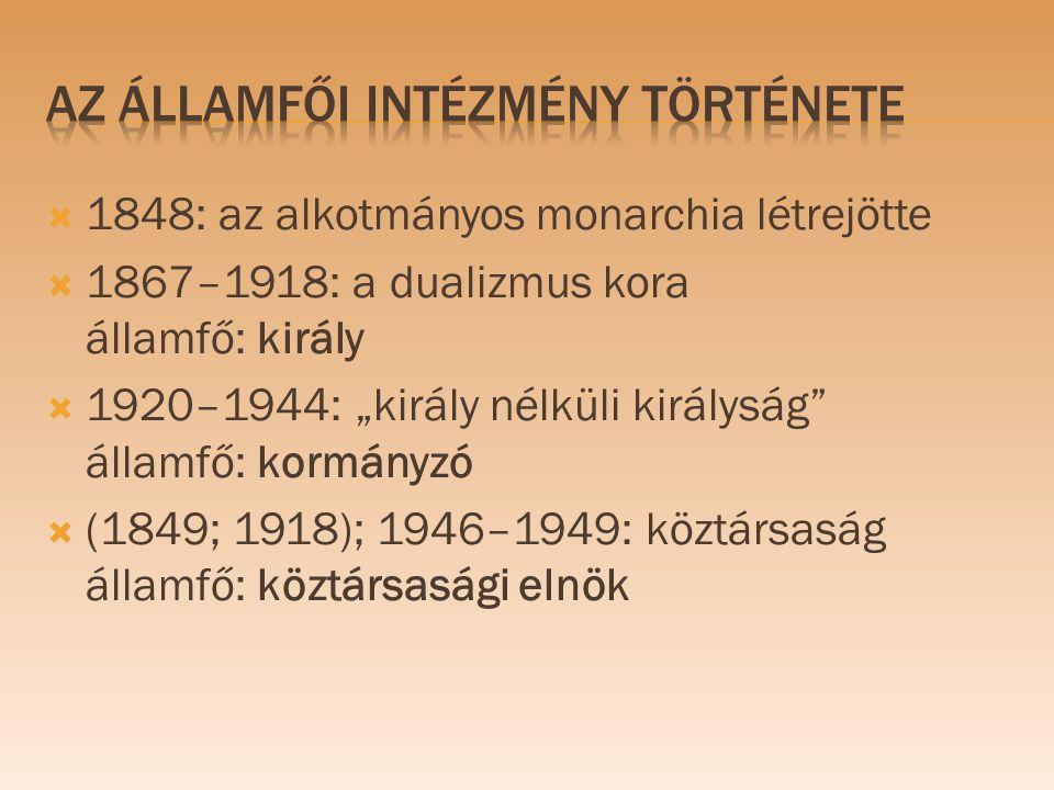 """ 1848: az alkotmányos monarchia létrejötte  1867–1918: a dualizmus kora államfő: király  1920–1944: """"király nélküli királyság"""" államfő: kormányzó """