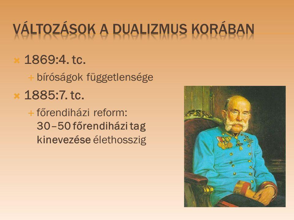  1869:4. tc.  bíróságok függetlensége  1885:7. tc.  főrendiházi reform: 30–50 főrendiházi tag kinevezése élethosszig