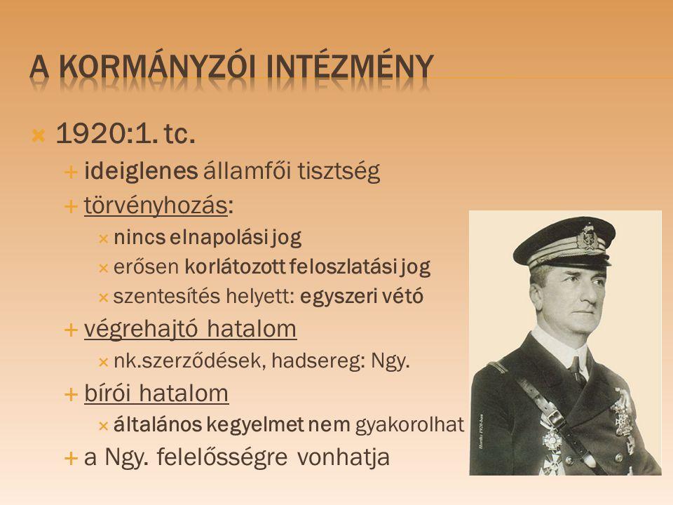  1920:1. tc.  ideiglenes államfői tisztség  törvényhozás:  nincs elnapolási jog  erősen korlátozott feloszlatási jog  szentesítés helyett: egysz