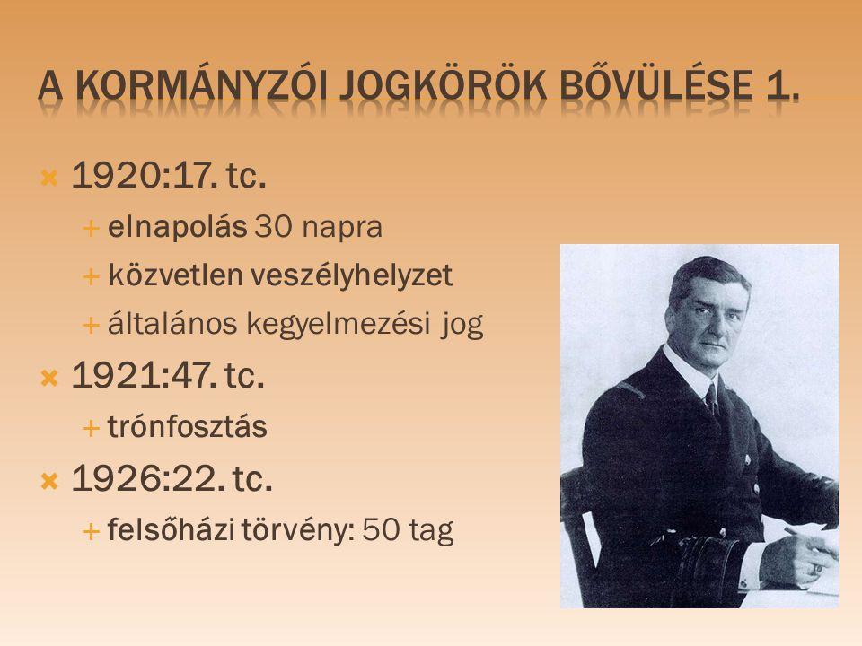  1920:17. tc.  elnapolás 30 napra  közvetlen veszélyhelyzet  általános kegyelmezési jog  1921:47. tc.  trónfosztás  1926:22. tc.  felsőházi tö