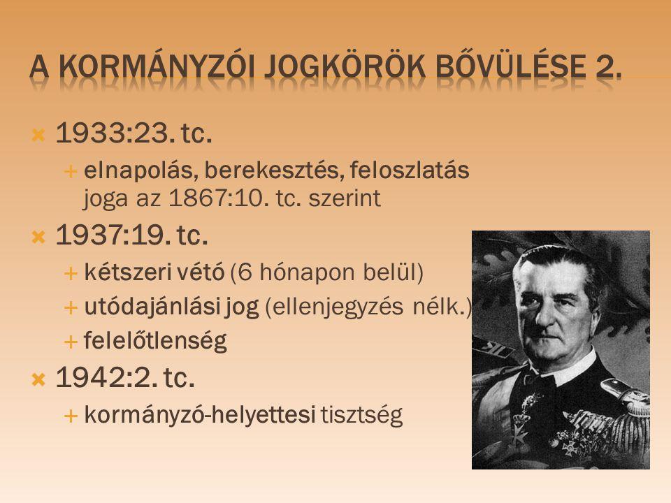  1933:23. tc.  elnapolás, berekesztés, feloszlatás joga az 1867:10. tc. szerint  1937:19. tc.  kétszeri vétó (6 hónapon belül)  utódajánlási jog