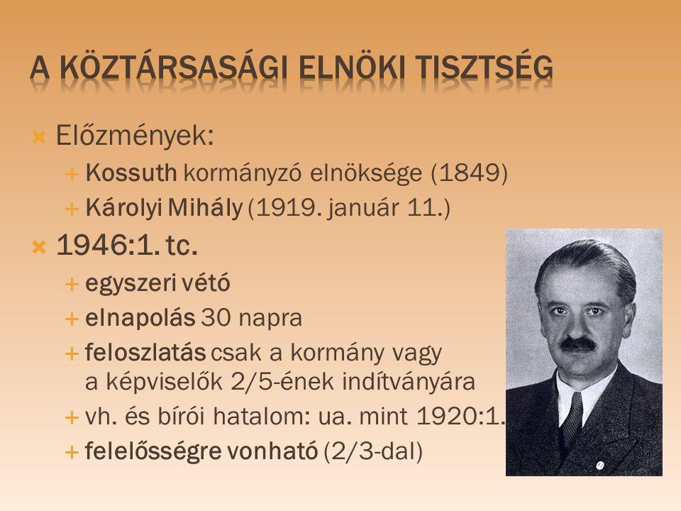  Előzmények:  Kossuth kormányzó elnöksége (1849)  Károlyi Mihály (1919. január 11.)  1946:1. tc.  egyszeri vétó  elnapolás 30 napra  feloszlatá