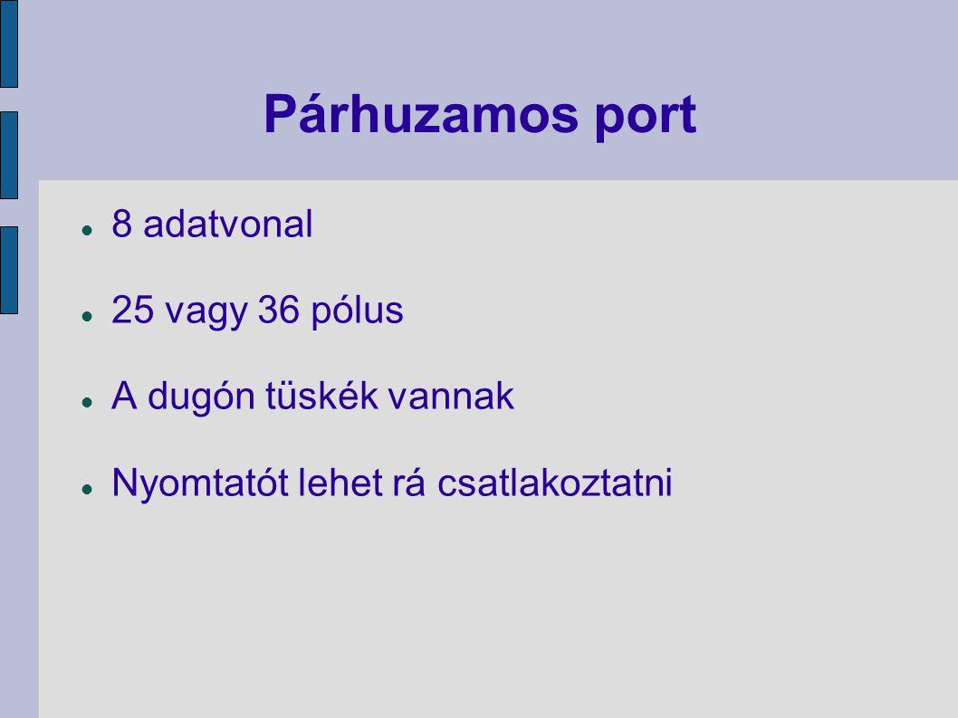 Párhuzamos port 8 adatvonal 25 vagy 36 pólus A dugón tüskék vannak Nyomtatót lehet rá csatlakoztatni