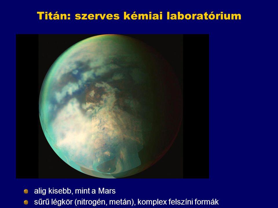 Titán: szerves kémiai laboratórium alig kisebb, mint a Mars sűrű légkör (nitrogén, metán), komplex felszíni formák