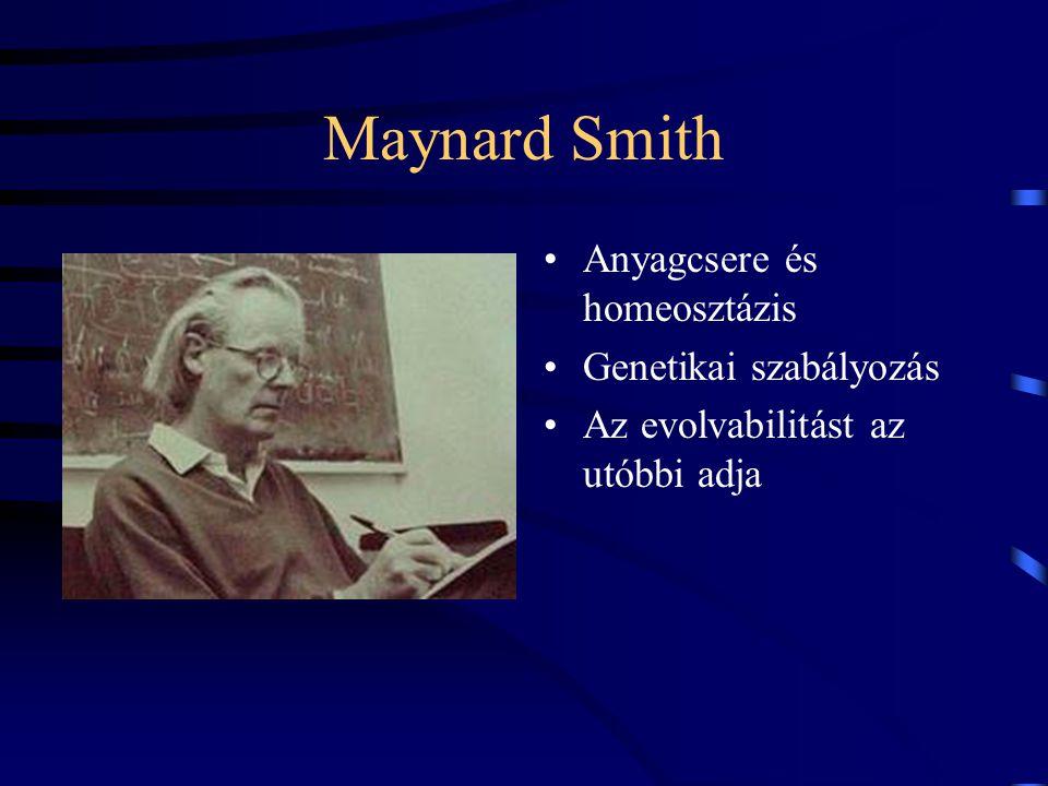 Maynard Smith Anyagcsere és homeosztázis Genetikai szabályozás Az evolvabilitást az utóbbi adja