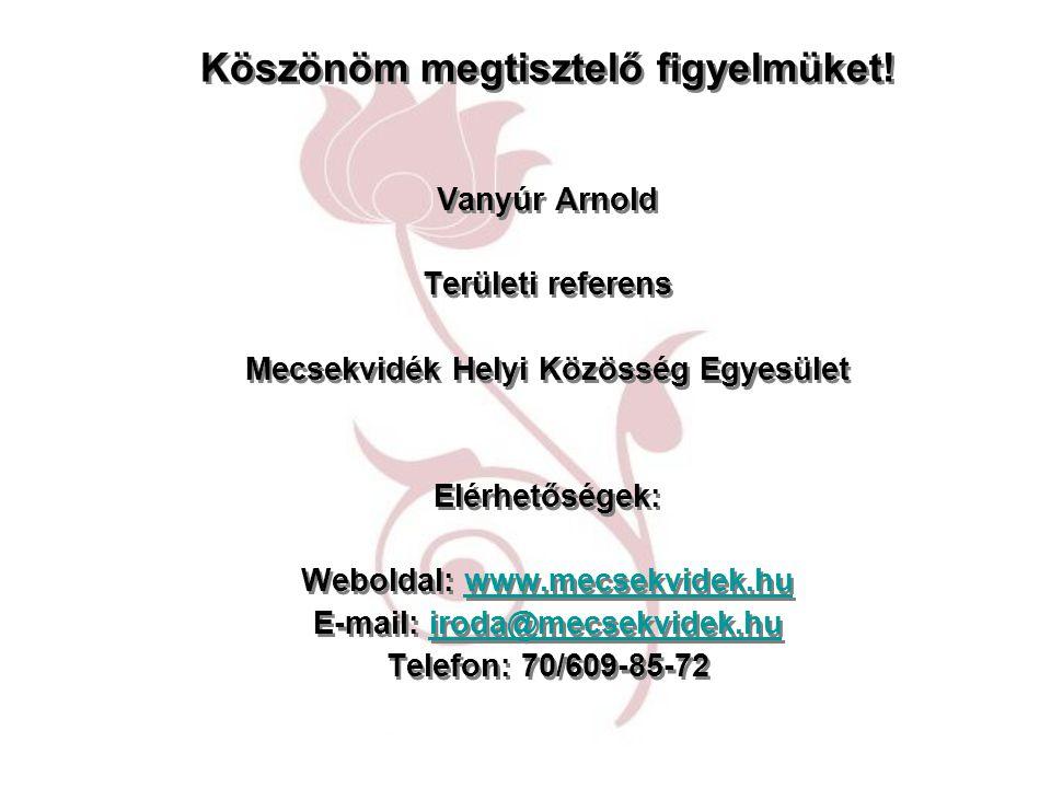 Köszönöm megtisztelő figyelmüket! Vanyúr Arnold Területi referens Mecsekvidék Helyi Közösség Egyesület Elérhetőségek: Weboldal: www.mecsekvidek.huwww.