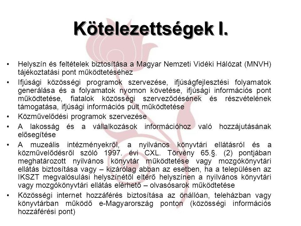 Kötelezettségek I. Helyszín és feltételek biztosítása a Magyar Nemzeti Vidéki Hálózat (MNVH) tájékoztatási pont működtetéséhez Ifjúsági közösségi prog