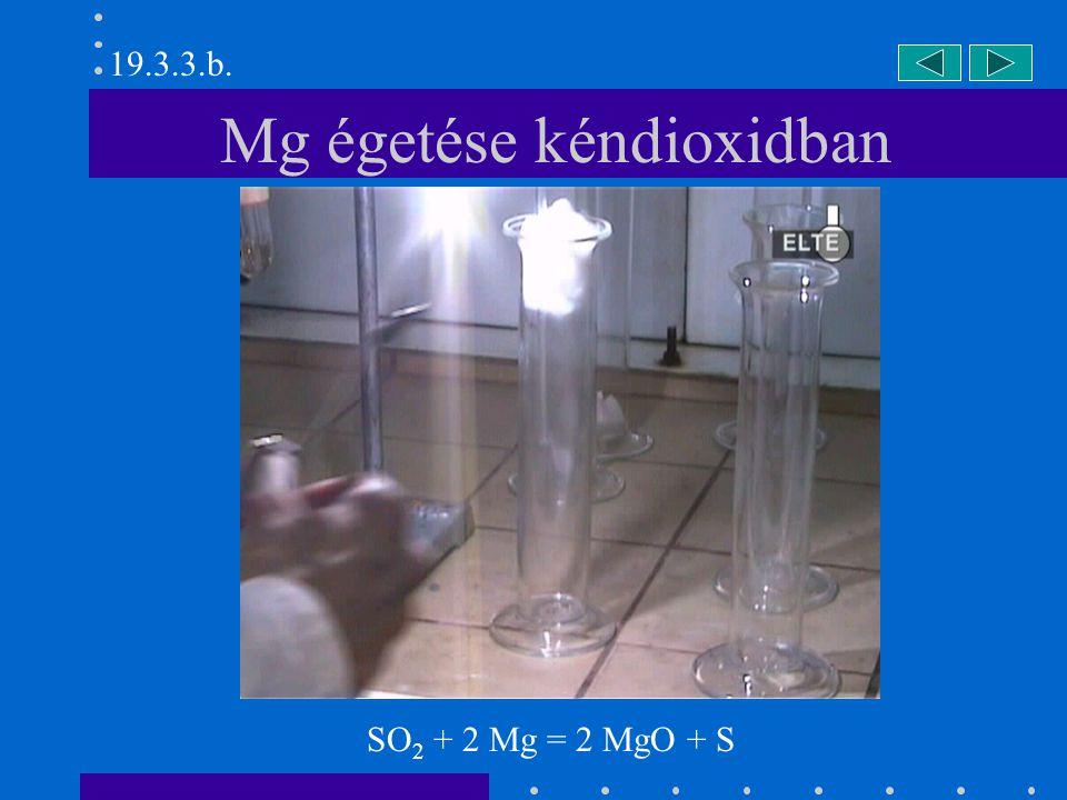 H 2 S reakciója kéndioxiddal 19.3.4. 2 H 2 S + SO 2 = 3 S + 2 H 2 O