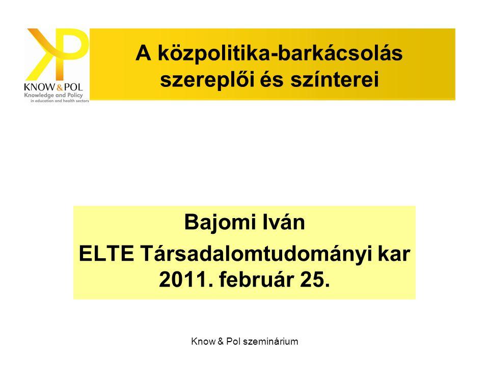 Know & Pol szeminárium A közpolitika-barkácsolás szereplői és színterei Bajomi Iván ELTE Társadalomtudományi kar 2011. február 25.