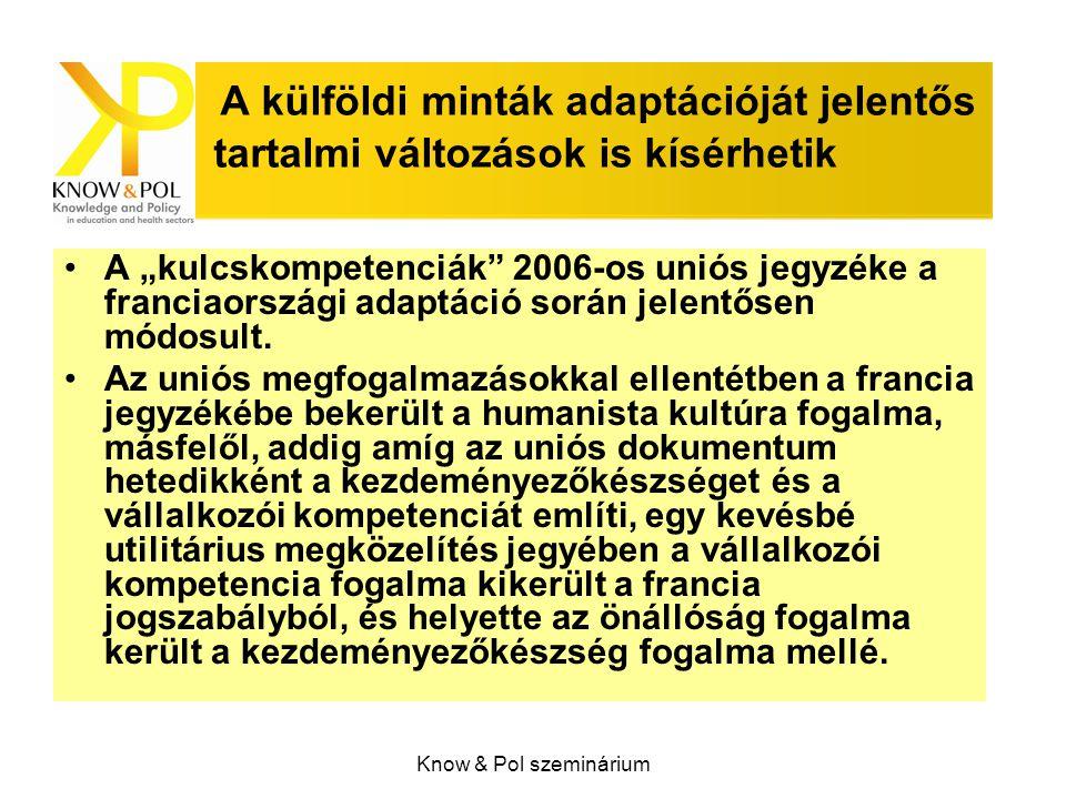 """Know & Pol szeminárium A külföldi minták adaptációját jelentős tartalmi változások is kísérhetik A """"kulcskompetenciák 2006-os uniós jegyzéke a franciaországi adaptáció során jelentősen módosult."""