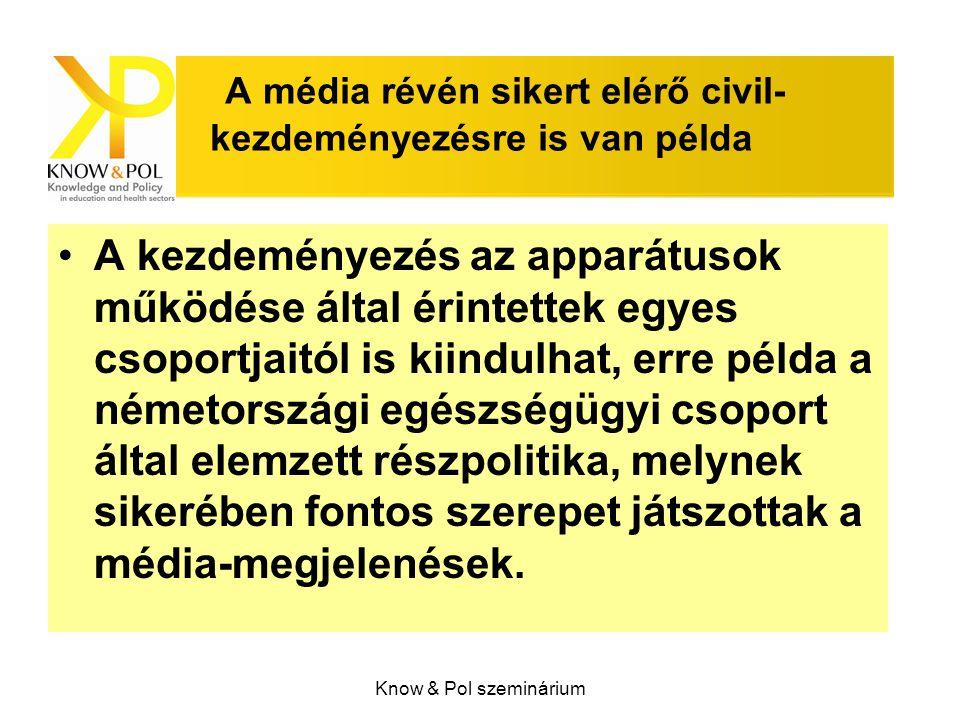 Know & Pol szeminárium A média révén sikert elérő civil- kezdeményezésre is van példa A kezdeményezés az apparátusok működése által érintettek egyes csoportjaitól is kiindulhat, erre példa a németországi egészségügyi csoport által elemzett részpolitika, melynek sikerében fontos szerepet játszottak a média-megjelenések.