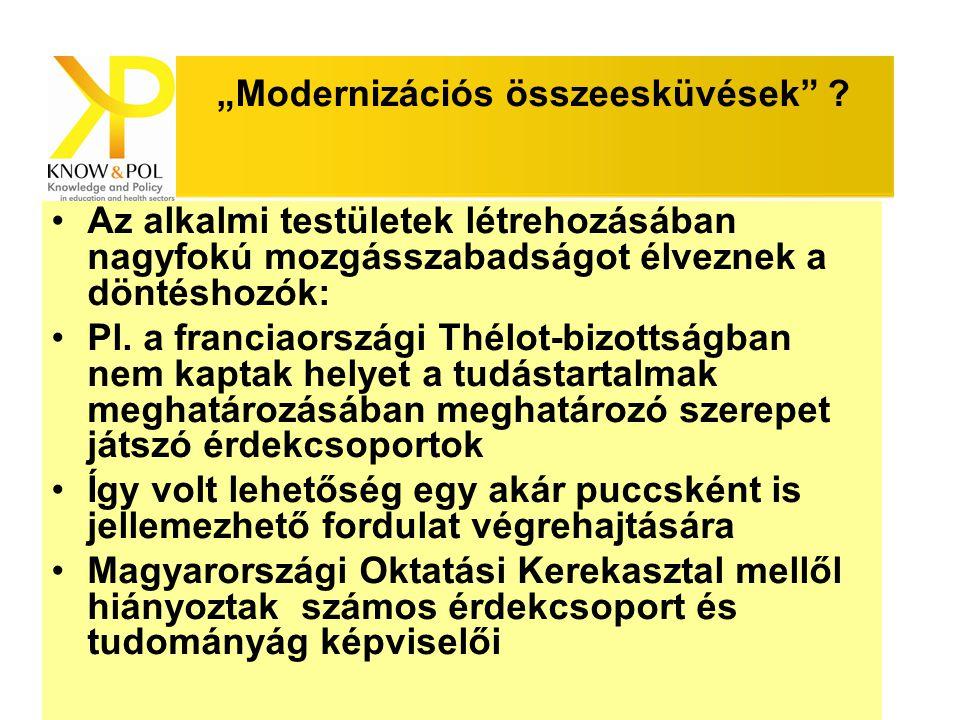 """Know & Pol szeminárium """"Modernizációs összeesküvések"""" ? Az alkalmi testületek létrehozásában nagyfokú mozgásszabadságot élveznek a döntéshozók: Pl. a"""