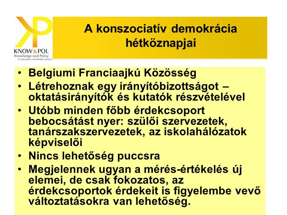 Know & Pol szeminárium A konszociatív demokrácia hétköznapjai Belgiumi Franciaajkú Közösség Létrehoznak egy irányítóbizottságot – oktatásirányítók és kutatók részvételével Utóbb minden főbb érdekcsoport bebocsátást nyer: szülői szervezetek, tanárszakszervezetek, az iskolahálózatok képviselői Nincs lehetőség puccsra Megjelennek ugyan a mérés-értékelés új elemei, de csak fokozatos, az érdekcsoportok érdekeit is figyelembe vevő változtatásokra van lehetőség.