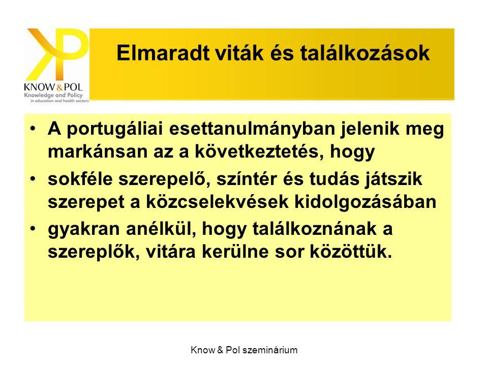 Know & Pol szeminárium Elmaradt viták és találkozások A portugáliai esettanulmányban jelenik meg markánsan az a következtetés, hogy sokféle szerepelő, színtér és tudás játszik szerepet a közcselekvések kidolgozásában gyakran anélkül, hogy találkoznának a szereplők, vitára kerülne sor közöttük.