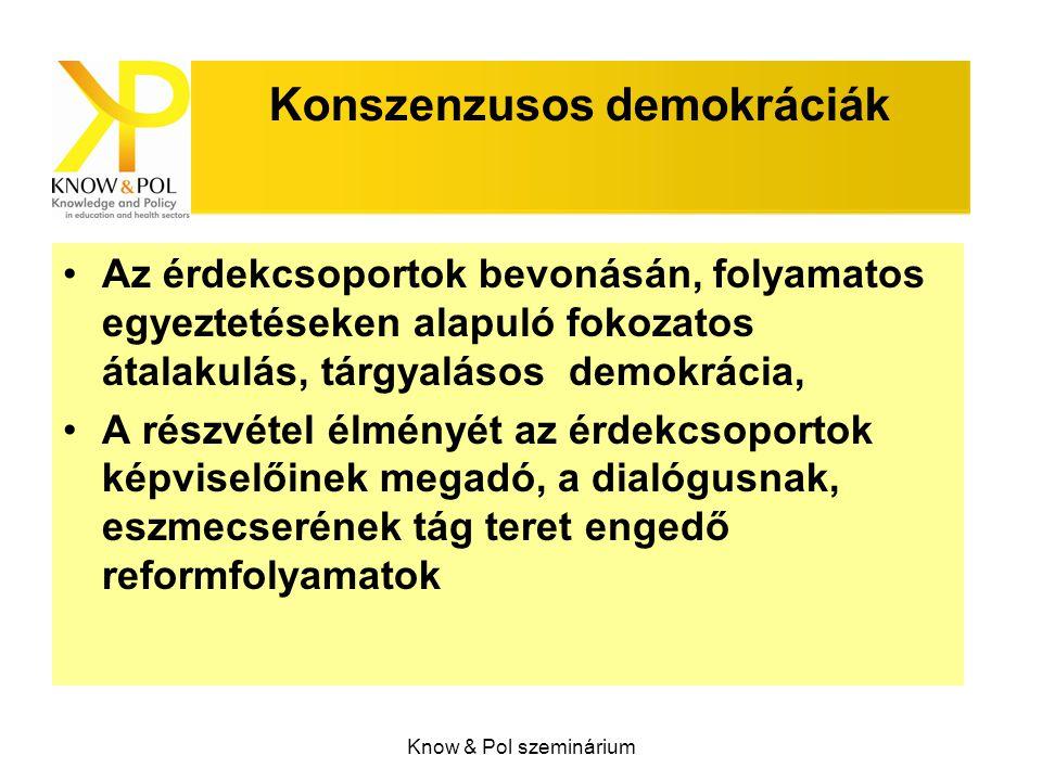 Know & Pol szeminárium Konszenzusos demokráciák Az érdekcsoportok bevonásán, folyamatos egyeztetéseken alapuló fokozatos átalakulás, tárgyalásos demok