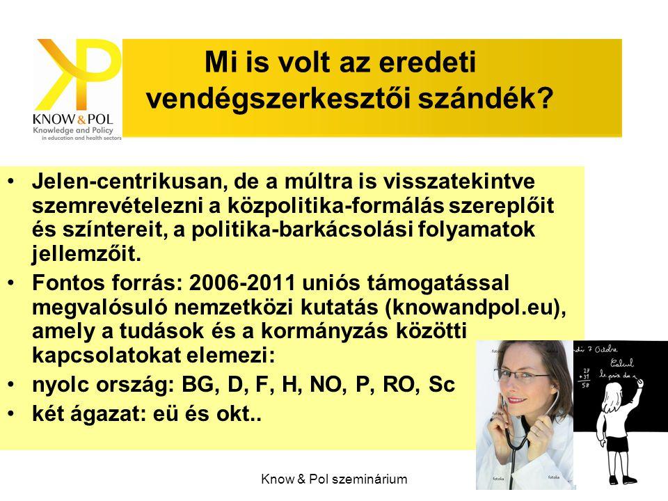 Know & Pol szeminárium A számban közölt írások forrásai illetve szerzői köre Különböző részpolitika genézisét elemző tanulmányok - 24 db.