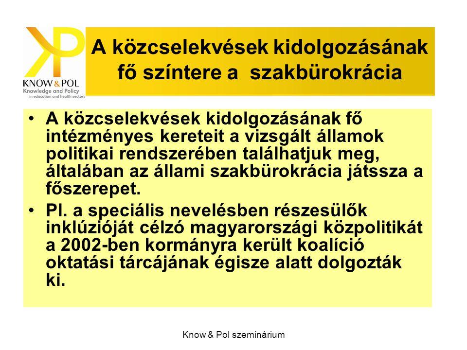 Know & Pol szeminárium A közcselekvések kidolgozásának fő színtere a szakbürokrácia A közcselekvések kidolgozásának fő intézményes kereteit a vizsgált államok politikai rendszerében találhatjuk meg, általában az állami szakbürokrácia játssza a főszerepet.
