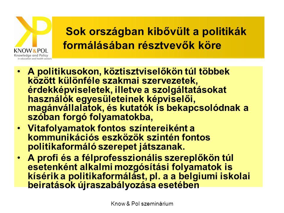 Know & Pol szeminárium Sok országban kibővült a politikák formálásában résztvevők köre A politikusokon, köztisztviselőkön túl többek között különféle