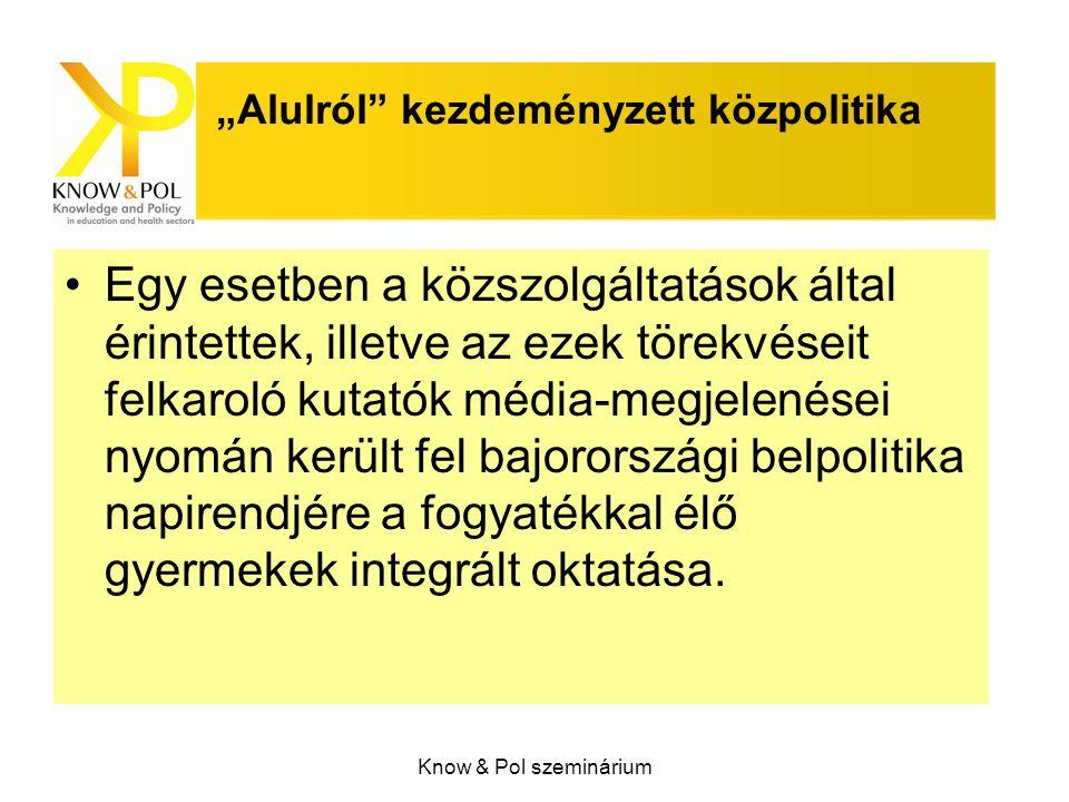 """Know & Pol szeminárium """"Alulról kezdeményzett közpolitika Egy esetben a közszolgáltatások által érintettek, illetve az ezek törekvéseit felkaroló kutatók média-megjelenései nyomán került fel bajorországi belpolitika napirendjére a fogyatékkal élő gyermekek integrált oktatása."""