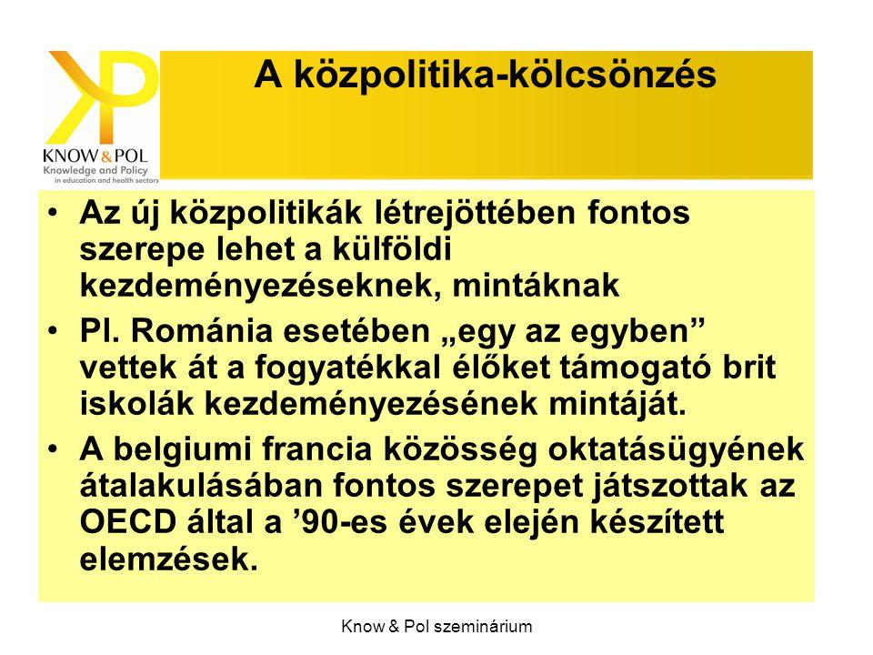 Know & Pol szeminárium A közpolitika-kölcsönzés Az új közpolitikák létrejöttében fontos szerepe lehet a külföldi kezdeményezéseknek, mintáknak Pl. Rom