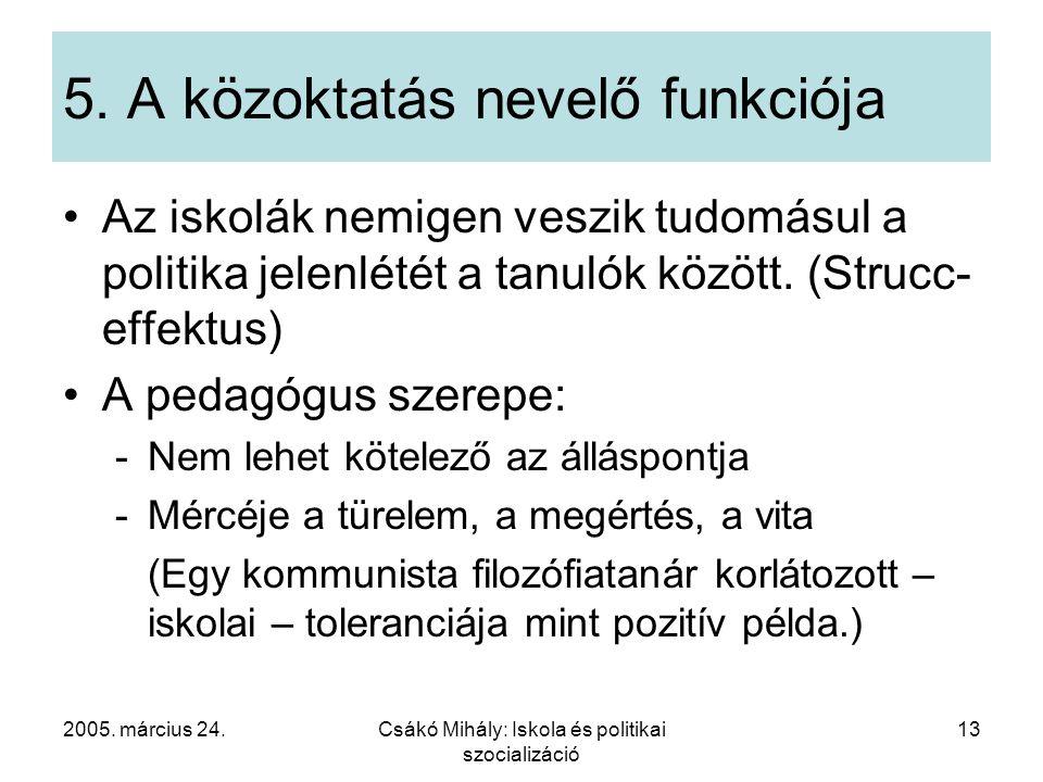 2005. március 24.Csákó Mihály: Iskola és politikai szocializáció 13 5. A közoktatás nevelő funkciója Az iskolák nemigen veszik tudomásul a politika je