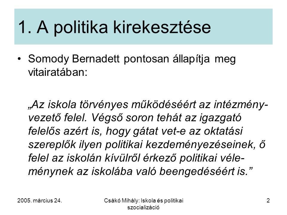"""2005. március 24.Csákó Mihály: Iskola és politikai szocializáció 2 1. A politika kirekesztése Somody Bernadett pontosan állapítja meg vitairatában: """"A"""