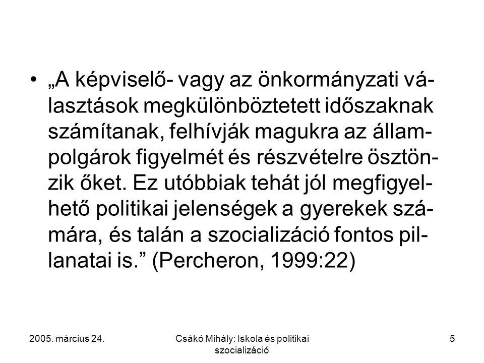 """2005. március 24.Csákó Mihály: Iskola és politikai szocializáció 5 """"A képviselő- vagy az önkormányzati vá- lasztások megkülönböztetett időszaknak szám"""