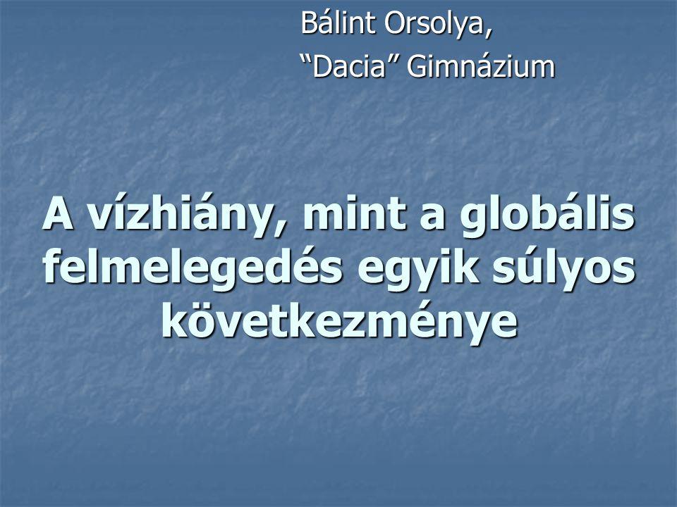 """A vízhiány, mint a globális felmelegedés egyik súlyos következménye Bálint Orsolya, """"Dacia"""" Gimnázium"""