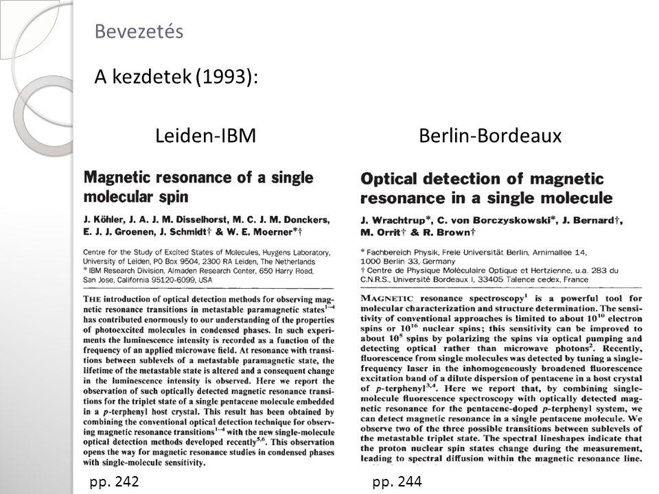Bevezetés A kezdetek (1993): Leiden-IBM Berlin-Bordeaux pp. 242pp. 244