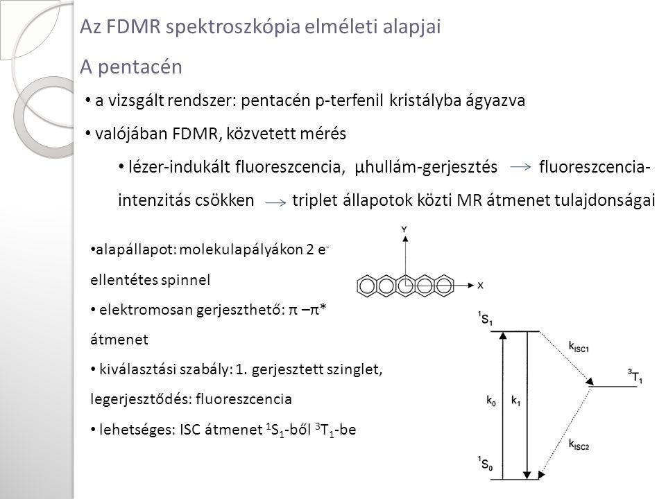 Az FDMR spektroszkópia elméleti alapjai A pentacén alapállapot: molekulapályákon 2 e - ellentétes spinnel elektromosan gerjeszthető: π –π* átmenet kiválasztási szabály: 1.