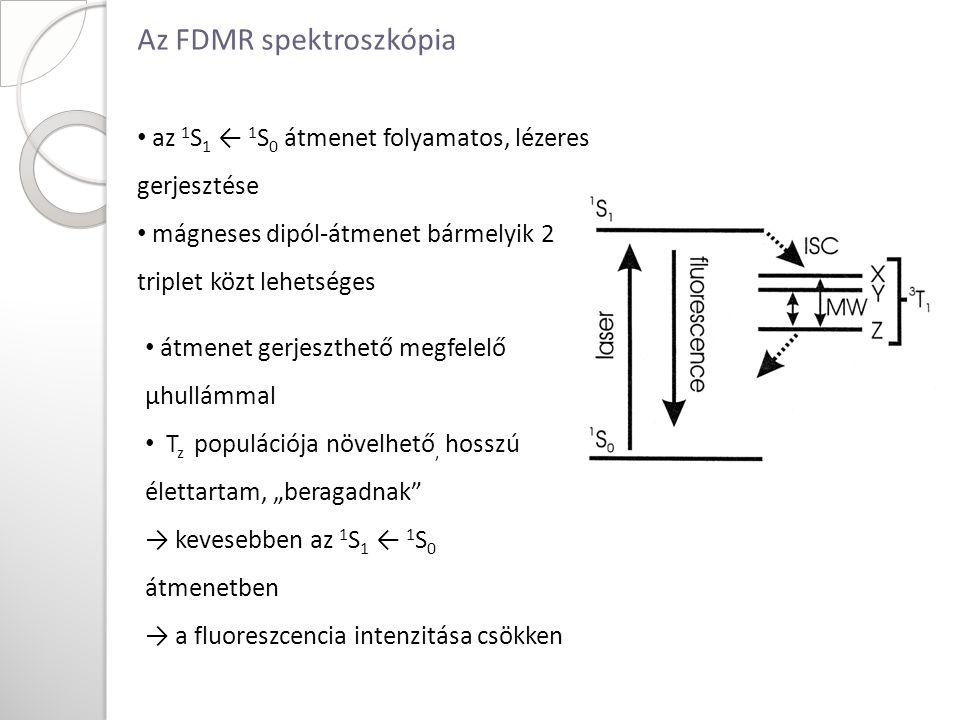 """az 1 S 1 ← 1 S 0 átmenet folyamatos, lézeres gerjesztése mágneses dipól-átmenet bármelyik 2 triplet közt lehetséges átmenet gerjeszthető megfelelő µhullámmal T z populációja növelhető, hosszú élettartam, """"beragadnak → kevesebben az 1 S 1 ← 1 S 0 átmenetben → a fluoreszcencia intenzitása csökken Az FDMR spektroszkópia"""