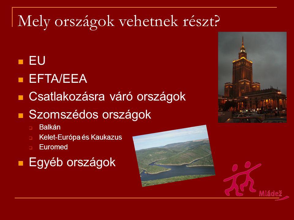 Mely országok vehetnek részt? EU EFTA/EEA Csatlakozásra váró országok Szomszédos országok  Balkán  Kelet-Európa és Kaukazus  Euromed Egyéb országok