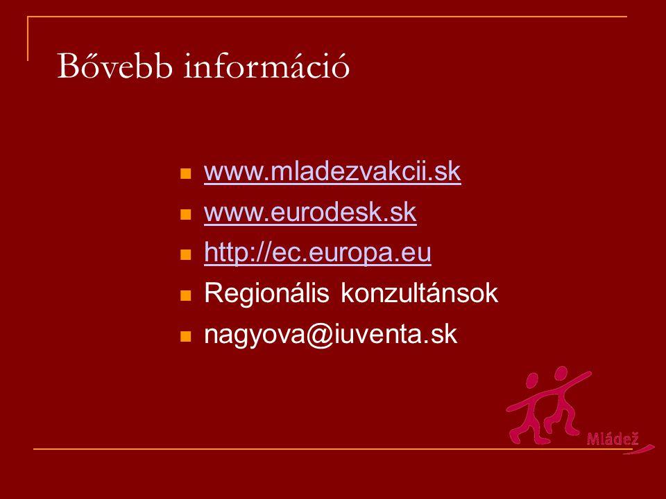 Bővebb információ www.mladezvakcii.sk www.eurodesk.sk http://ec.europa.eu Regionális konzultánsok nagyova@iuventa.sk