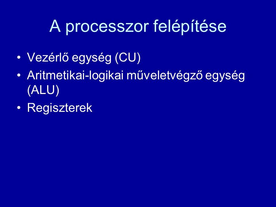 A processzor felépítése Vezérlő egység (CU) Aritmetikai-logikai műveletvégző egység (ALU) Regiszterek