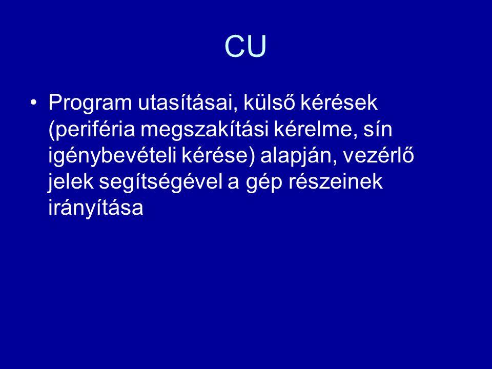 CU Program utasításai, külső kérések (periféria megszakítási kérelme, sín igénybevételi kérése) alapján, vezérlő jelek segítségével a gép részeinek ir