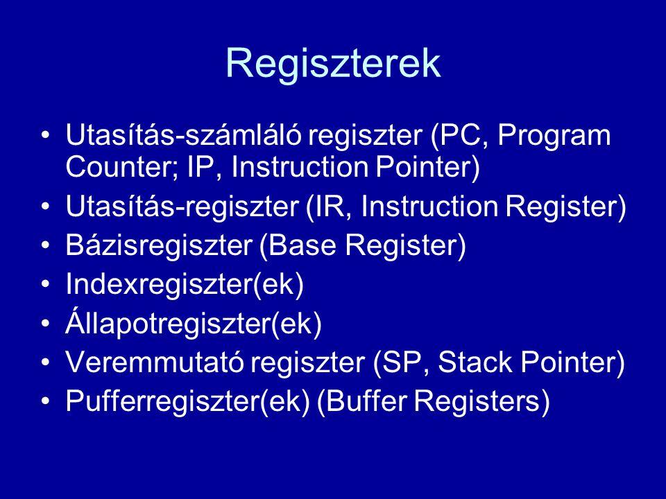 Regiszterek Utasítás-számláló regiszter (PC, Program Counter; IP, Instruction Pointer) Utasítás-regiszter (IR, Instruction Register) Bázisregiszter (B