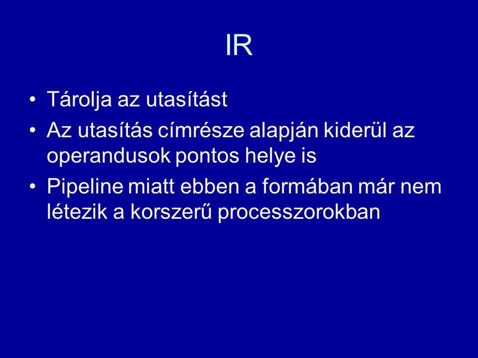 IR Tárolja az utasítást Az utasítás címrésze alapján kiderül az operandusok pontos helye is Pipeline miatt ebben a formában már nem létezik a korszerű