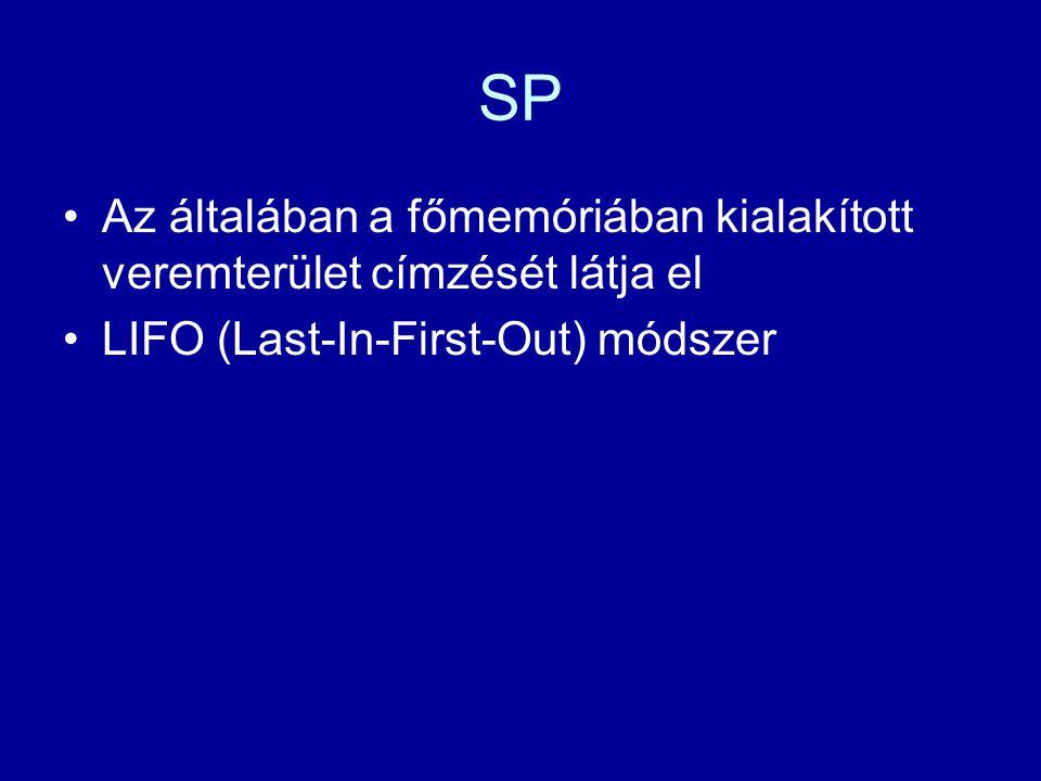 SP Az általában a főmemóriában kialakított veremterület címzését látja el LIFO (Last-In-First-Out) módszer