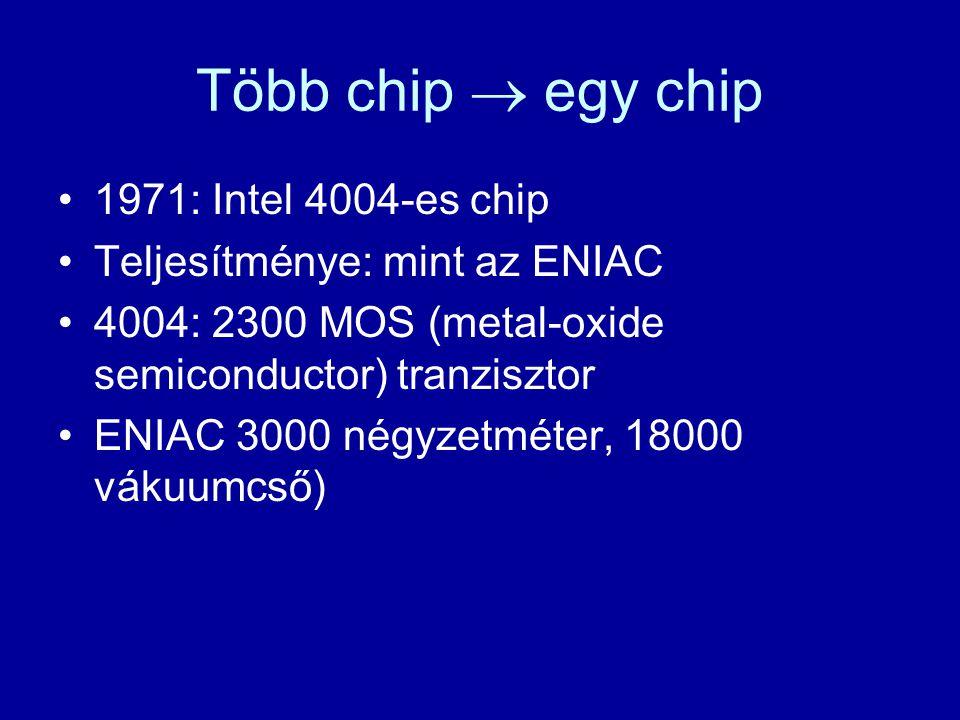 Több chip  egy chip 1971: Intel 4004-es chip Teljesítménye: mint az ENIAC 4004: 2300 MOS (metal-oxide semiconductor) tranzisztor ENIAC 3000 négyzetmé