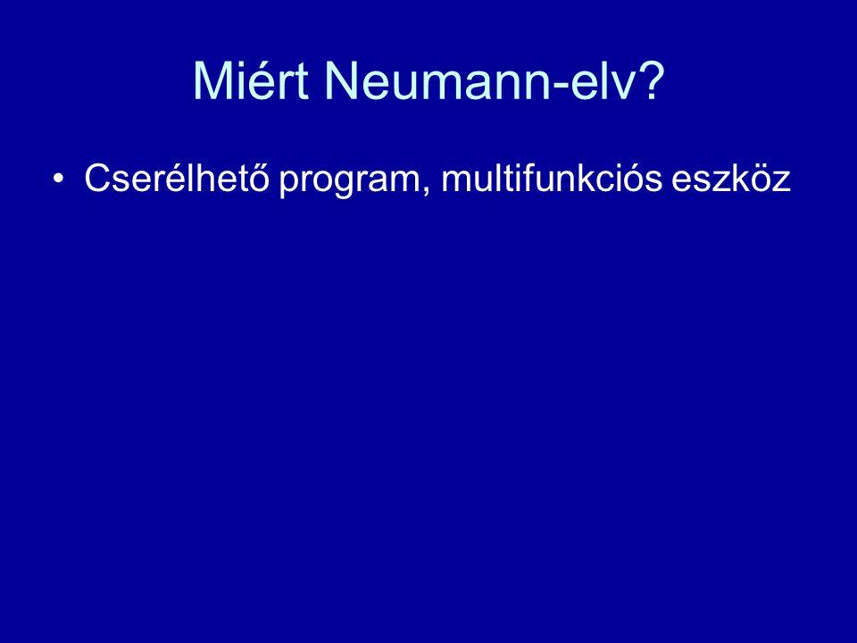 Miért Neumann-elv? Cserélhető program, multifunkciós eszköz