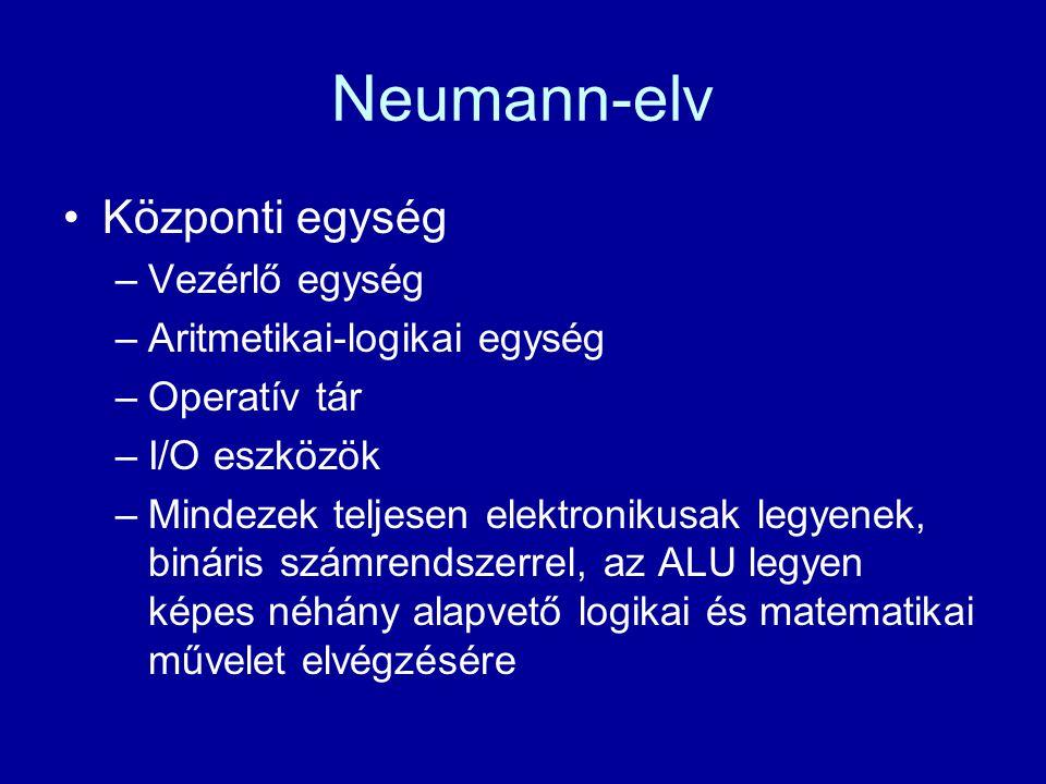 Neumann-elv Központi egység –Vezérlő egység –Aritmetikai-logikai egység –Operatív tár –I/O eszközök –Mindezek teljesen elektronikusak legyenek, binári