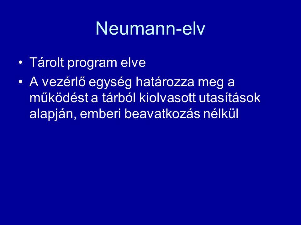 Neumann-elv Tárolt program elve A vezérlő egység határozza meg a működést a tárból kiolvasott utasítások alapján, emberi beavatkozás nélkül