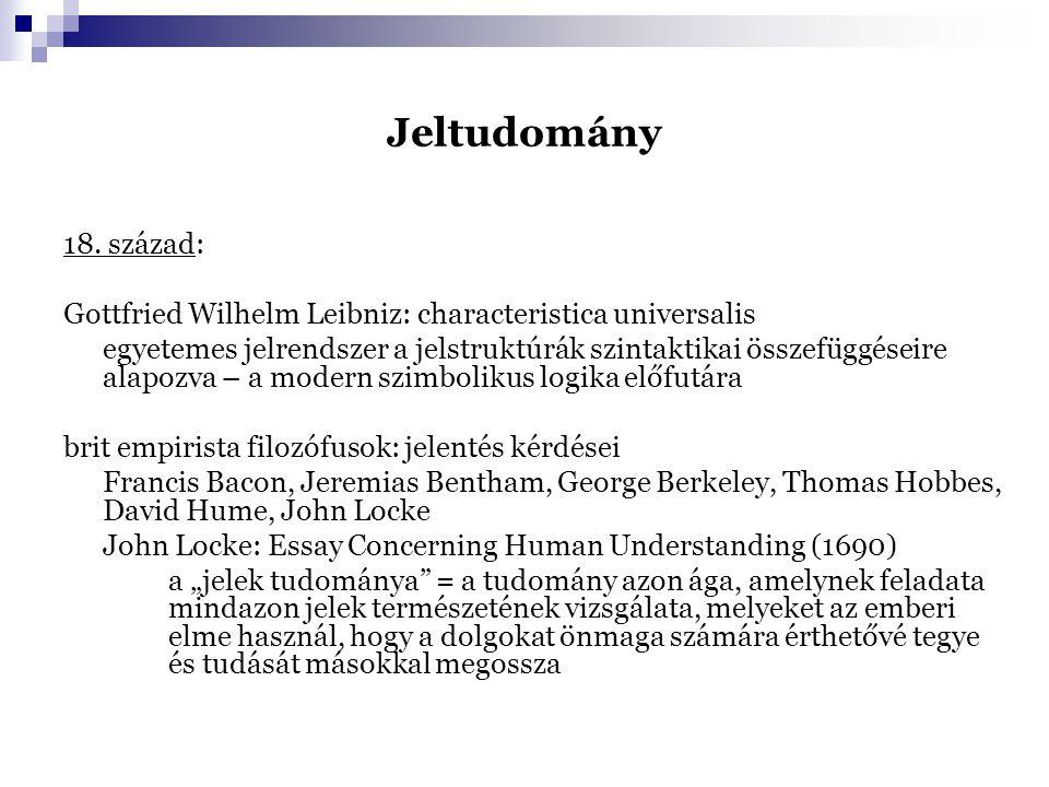 Jeltudomány 18. század: Gottfried Wilhelm Leibniz: characteristica universalis egyetemes jelrendszer a jelstruktúrák szintaktikai összefüggéseire alap