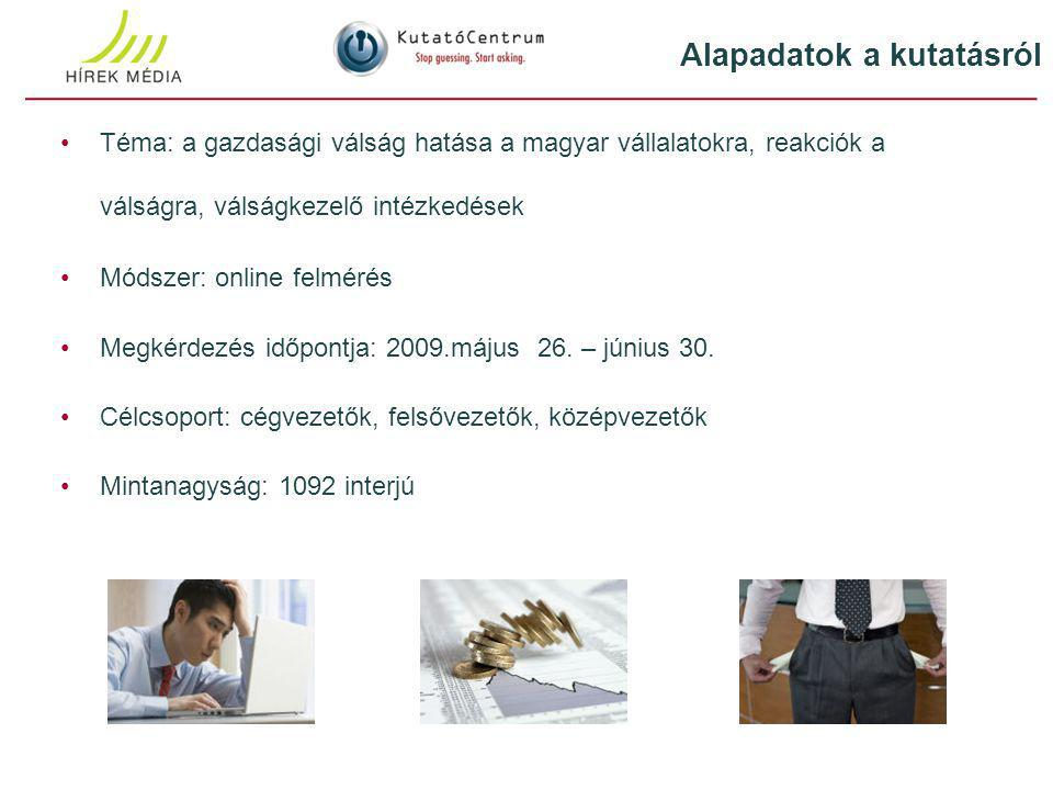 Téma: a gazdasági válság hatása a magyar vállalatokra, reakciók a válságra, válságkezelő intézkedések Módszer: online felmérés Megkérdezés időpontja: 2009.május 26.