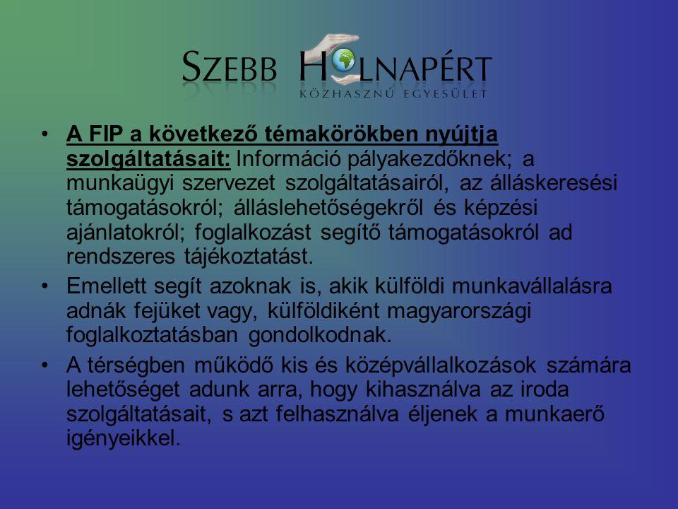 A FIP a következő témakörökben nyújtja szolgáltatásait: Információ pályakezdőknek; a munkaügyi szervezet szolgáltatásairól, az álláskeresési támogatás