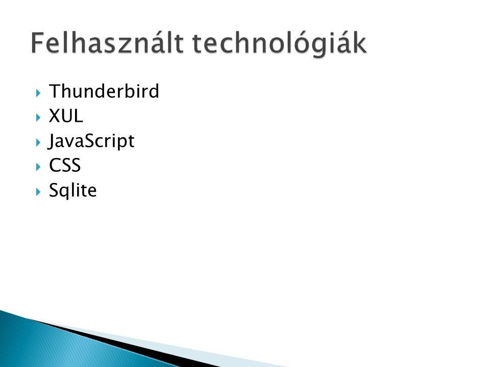  Thunderbird  XUL  JavaScript  CSS  Sqlite