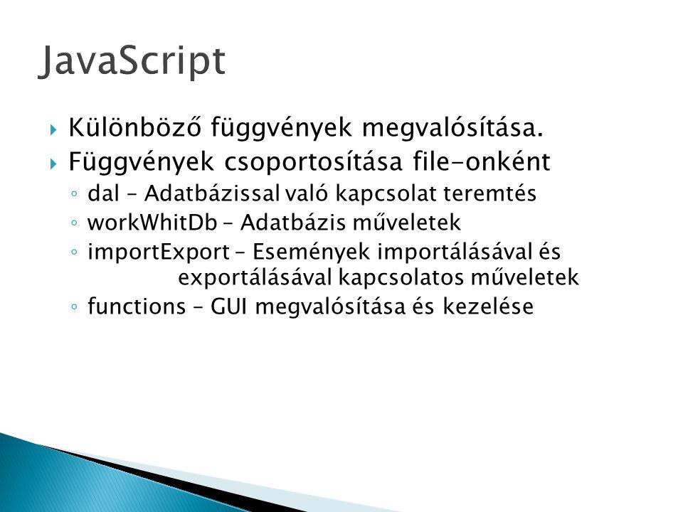  Különböző függvények megvalósítása.  Függvények csoportosítása file-onként ◦ dal – Adatbázissal való kapcsolat teremtés ◦ workWhitDb – Adatbázis mű